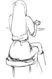 Vector o esboço da menina loura que senta-se em um café com o o seu de volta a Imagem de Stock Royalty Free