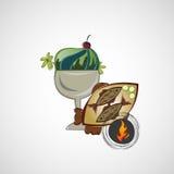 Vector o esboço de sobremesas saborosos e de peixes fritados Fotografia de Stock