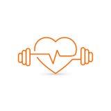 Vector o esboço do coração, os pesos e um cardiograma Ícone que simboliza a saúde e o esporte lifestyle ilustração stock