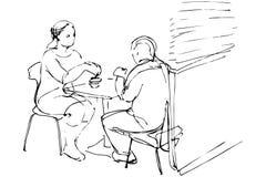 Vector o esboço do homem e da mulher em uma tabela em um café Fotos de Stock