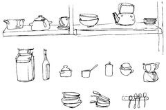 Vector o esboço de utensílios da cozinha na escala do papel de parede Imagem de Stock