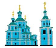 Vector o esquema para a catedral da ressurreição do bordado em Sumy Imagem de Stock Royalty Free