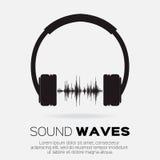 Vector o estilo musical do DJ - fones de ouvido com ondas sadias Foto de Stock Royalty Free