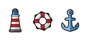 Vector o farol, o boia salva-vidas e a âncora do mar do ícone no fundo branco Imagens de Stock