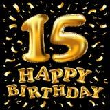 Vector o feliz aniversario 15 anos de cor dourada, quinze balloon e os confetes isolados no fundo preto elegante, projeto para o  Foto de Stock