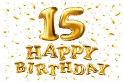 Vector o feliz aniversario 15 anos de cor dourada, quinze balloon e os confetes isolados no fundo preto elegante, projeto para o  Fotos de Stock Royalty Free