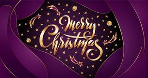 Vector o Feliz Natal dourado do texto no fundo plástico roxo do efeito com estrelas de queda, planetas, galáxias dos cometas ilustração royalty free