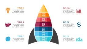 Vector o foguete infographic, carta do diagrama, apresentação do gráfico Conceito da partida de negócio com seis opções, peças, e ilustração do vetor