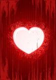 Vector o frame vermelho floral do coração do grunge Fotografia de Stock