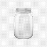 Vector o frasco de vidro vazio realístico para enlatar e preservar com tampa prateada Foto de Stock