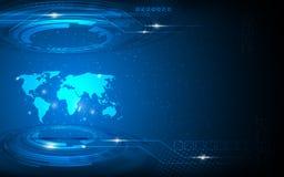 Vector o fundo abstrato do conceito da inovação da tecnologia do mapa do mundo olá! Foto de Stock