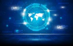 Vector o fundo abstrato do conceito do fi do sci da perspectiva da tecnologia do mapa do mundo olá! Imagens de Stock