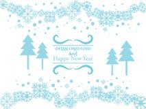 Vector o fundo azul com flocos de neve e ondule o elemento Imagens de Stock Royalty Free