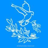Vector o fundo azul para o dia internacional da paz Ilustração do conceito com a pomba da paz, ramo de oliveira Paz internacional Fotografia de Stock