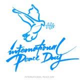 Vector o fundo azul para o dia internacional da paz Ilustração do conceito com a pomba do texto escrito da paz, do ramo de olivei Imagens de Stock