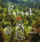 Vector o fundo borrado com floresta, cabana, madeira, lenha Imagens de Stock