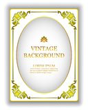 Vector o fundo branco do vintage do molde com um quadro real do ouro O modelo para criar convites, cartões, capas do livro ilustração royalty free