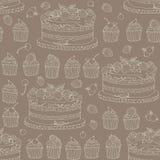 Vector o fundo com do bolo e os barries no estilo retro Imagens de Stock Royalty Free