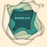 Vector o fundo com formas do corte do papel das cores bege e verdes estilo de papel abstrato da arte 3D, disposição de projeto pa ilustração stock