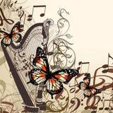 Vector o fundo com harpa, notas e borboletas Fotografia de Stock