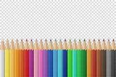 Vector o fundo com os lápis 3D ou os pastéis coloridos coloridos de madeira realísticos no fundo da grade da transparência com ilustração do vetor