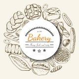 Vector o fundo com os vários produtos da padaria arranjados em um círculo Foto de Stock Royalty Free