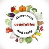 Vector o fundo com os vegetais em um círculo e nas palavras ilustração do vetor