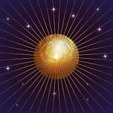 Vector o fundo com planeta, estrela e raios Imagens de Stock