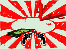Vector o fundo com revólveres, dinheiro e cacto no deserto Imagens de Stock