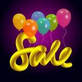 Vector o fundo com rotulação colorida dos balões do hélio e da bolha da venda ilustração royalty free