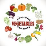 Vector o fundo com vegetais isolados em um círculo e em uma inscrição para dentro Imagem de Stock Royalty Free