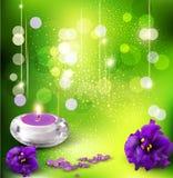 Vector o fundo com violetas e velas Imagem de Stock