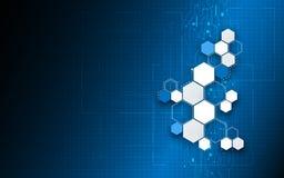 Vector o fundo de trabalho do conceito do computador da tecnologia do teste padrão do hexágono Imagens de Stock Royalty Free