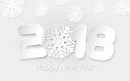Vector o fundo 2018 do ano novo feliz com cortes de papel Imagens de Stock Royalty Free