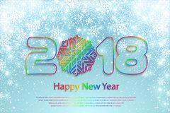 Vector o fundo 2018 do ano novo feliz com cortes de papel Imagens de Stock