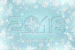 Vector o fundo 2017 do ano novo feliz com cortes de papel Imagens de Stock Royalty Free