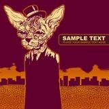 Vector o fundo do grunge com gato Fotos de Stock Royalty Free