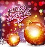 Vector o fundo do Natal com inscrição do cumprimento e ouro b Fotos de Stock Royalty Free