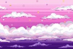 Vector o fundo do pixel com céu e nuvens da noite ilustração royalty free