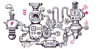 Vector o fundo industrial da ilustração do mecha de funcionamento Fotografia de Stock Royalty Free