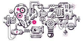 Vector o fundo industrial da ilustração do mecha de funcionamento Foto de Stock