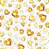 Vector o fundo lustroso branco sem emenda com os diamantes do coração do ouro 3d, gemas, joias ilustração stock