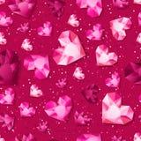 Vector o fundo lustroso cor-de-rosa sem emenda com os diamantes do coração do ouro 3d, gemas, joias ilustração royalty free