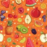 Vector o fundo sem emenda com as vários frutos e bagas Imagem de Stock