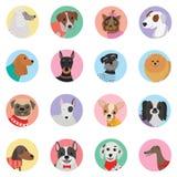 Vector o fundo sem emenda com projeto liso do ícone dos cães Imagem de Stock Royalty Free