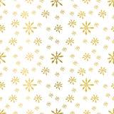 Vector o fundo sem emenda do teste padrão do inverno com flocos de neve do ouro Fotografia de Stock