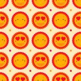 Vector o fundo sem emenda do teste padrão dos emoticons felizes com sóis SU Fotos de Stock