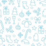 Vector o fundo sem emenda do teste padrão do inverno com elementos do Natal ilustração do vetor