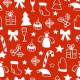Vector o fundo sem emenda do teste padrão do inverno com elementos do Natal ilustração stock