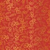 Vector o fundo sem emenda dourado e da laranja das folhas da textura da repetição do teste padrão Grande para a tela da queda, pa Fotos de Stock Royalty Free